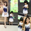 Mother Daughter Dresses Family Matching Clothing Girls Dress Sleeveless Formal Print A-line Dress Summer Kid free shipping