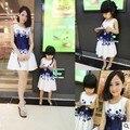 Vestidos mãe Filha Família Combinando Roupas Meninas Vestido Sem Mangas Formal de Impressão A-line Vestido de Verão Kid frete grátis