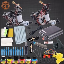 Complete Tattook Kit Machine Set 2 Coils Guns 6 Colors Black Pigment Sets Power Tattoo Beginner Grips Kits Permanent Makeup
