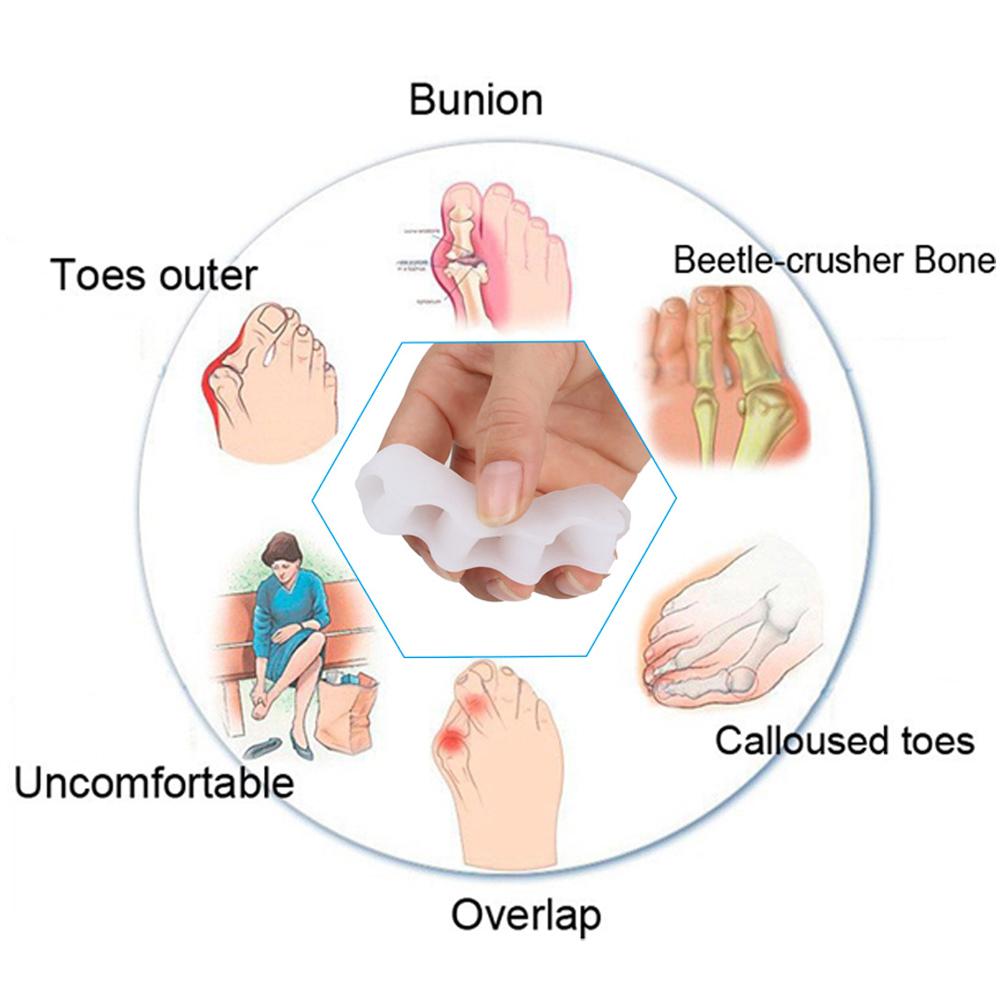 1 Pair Silicone Foot Care Gel Bunion Protector Toe Separators Straightener Spreader Correctors
