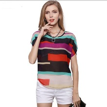 S-3XL 2014 New women Multi-colour print Stripe Loose Short Sleeve Chiffon Shirt Brand casual plus size summer blouse(one+one)