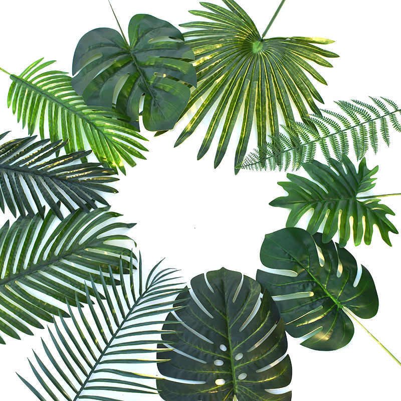 Offre spéciale décoration de jardin feuilles décoratives tropicales Monstera 1 PC photographie plastique palmier feuilles maison artificielle