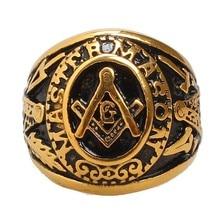 Freemason Men's Gold Tone Free Mason Master Mason Stainless Steel Masonic Ring