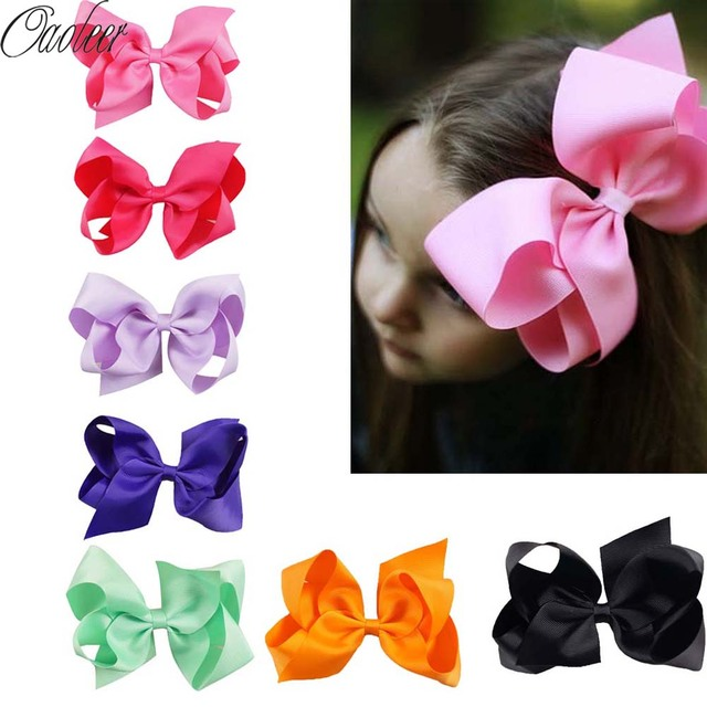 32pcs Lot 6 Big Hair Bow Girls Solid Ribbon Hair Bows With Clip
