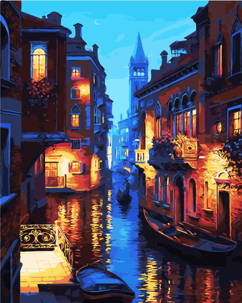 frameless venice night landscape diy digital oil painting by numbers europe abstract canvas