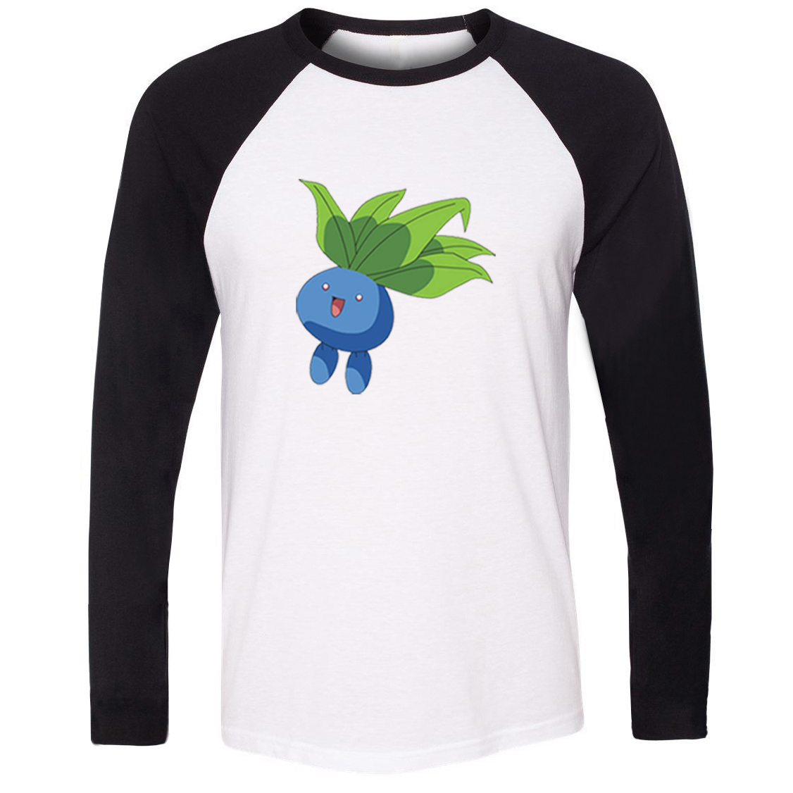 Unisex T-shirt Pokemon National Pokedex 043 Grass Poison Type Oddish Pattern Raglan Long Sleeve Men T shirt Boy Casual Tee Tops image
