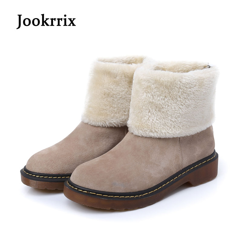 Jookrrix New Winter Fashion Western Style Boots Lady Shoes Women Genuine Leather Warm Ankle Boots Breathable Black Large Size jookrrix autumn fashion boots women shoe metal decoration lady genuine leather zipper martin boot breathable black western style page 10