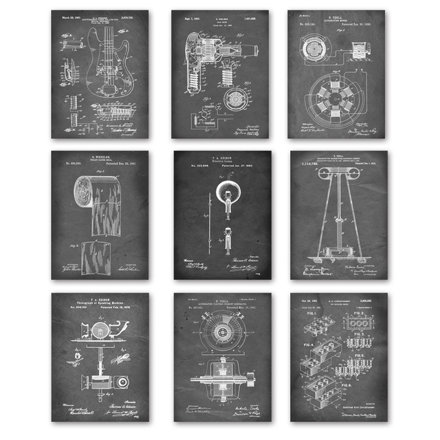 Electric light Toilet Paper Patent Wall Art