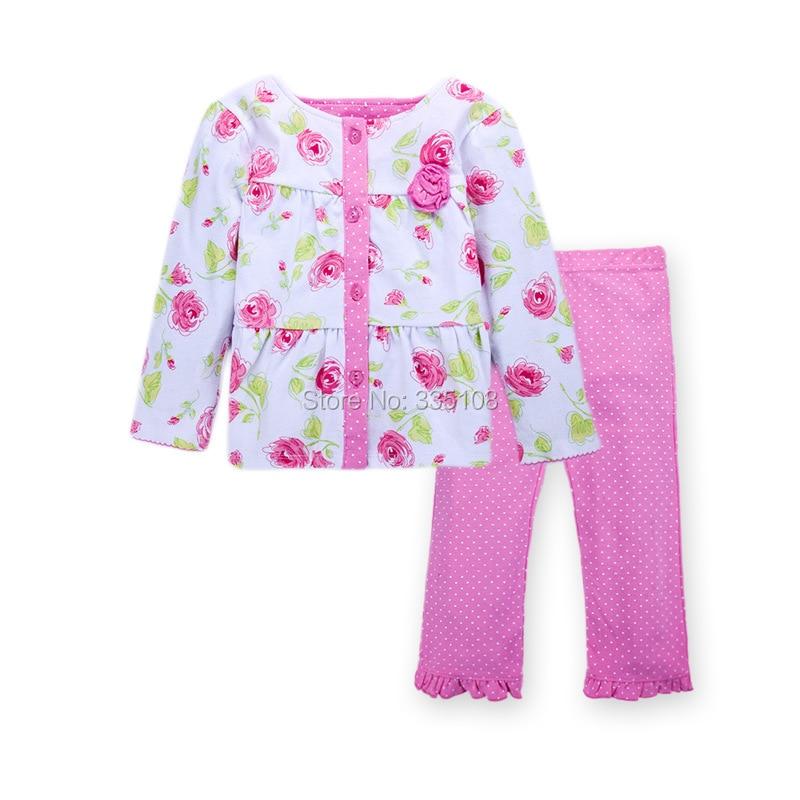 fb76bbec3a7 아기 여자 의류 공주 꽃 티셔츠 및 바지 조각 도트 정장 아이 소녀 캐주얼 봄/가을