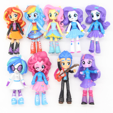 Fashion 9pcs set My Little Girls High School Poni BJD Cartoon Figure Model Collection font b