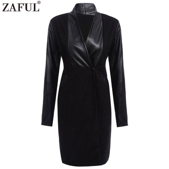 0ec267bfea Fashion Women Faux Leather Spliced Black Coats 2017 Autumn Sexy PU Bodycon  Long Jackets Casual European