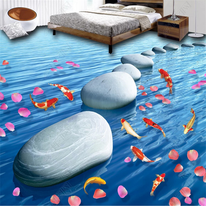 beibehang Custom papel de parede 3d wallpaper classic pvc seaside sandstone river living room bathroom tile floor painting in Wallpapers from Home Improvement