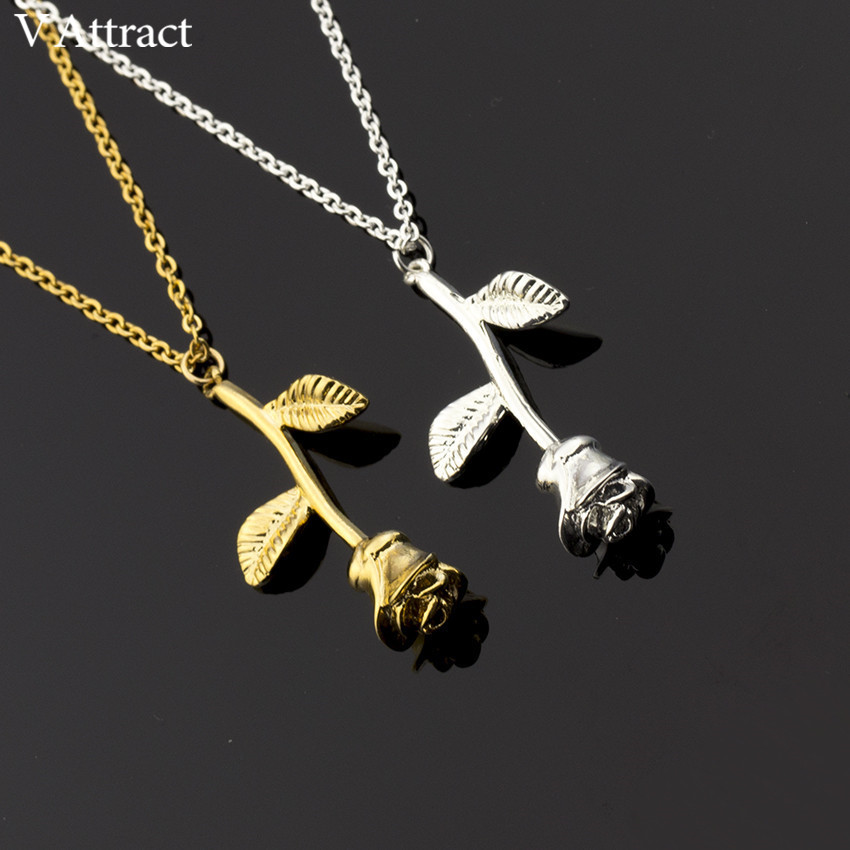 HTB1Pf2GbgMPMeJjy1Xcq6xpppXax - FREE SHIPPING New Pink Gold Rose Flower Necklace JKP133