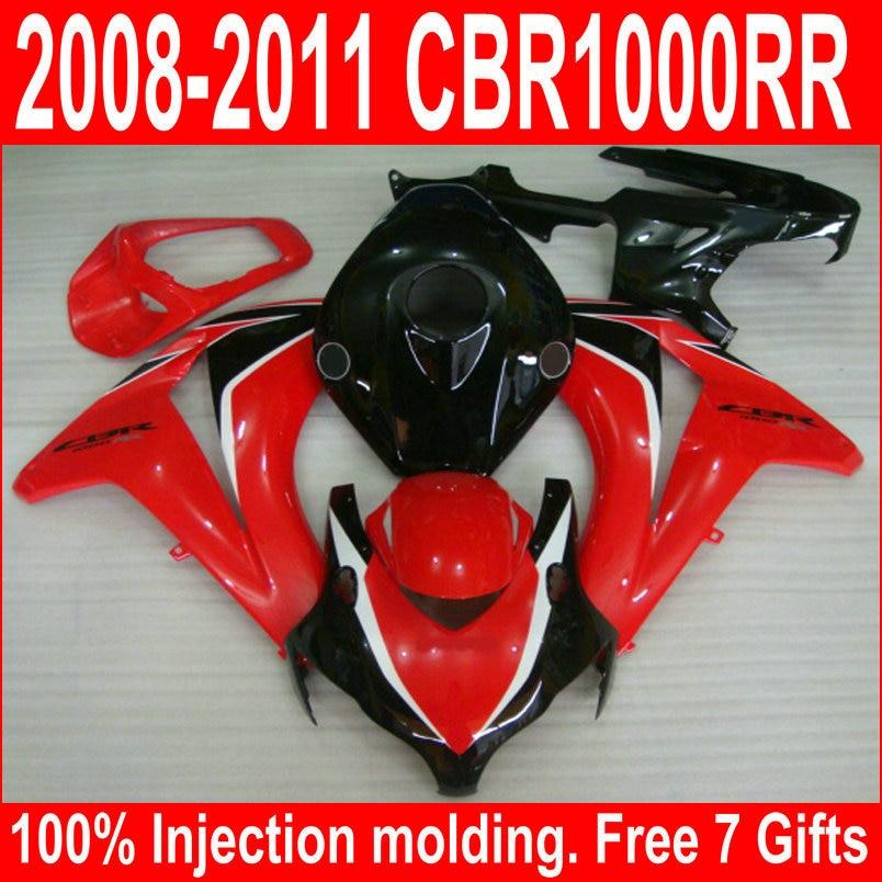 Moulage par injection vente chaude carénage kit pour Honda CBR1000RR 08 09 10 11 rouge noir carénages ensemble CBR1000RR 2008-2011 UY13