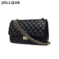 Jollque Black Women Shoulder Bags Female Party Crossbody Chain Bag Plaid Handbag Quilted Sac A Main