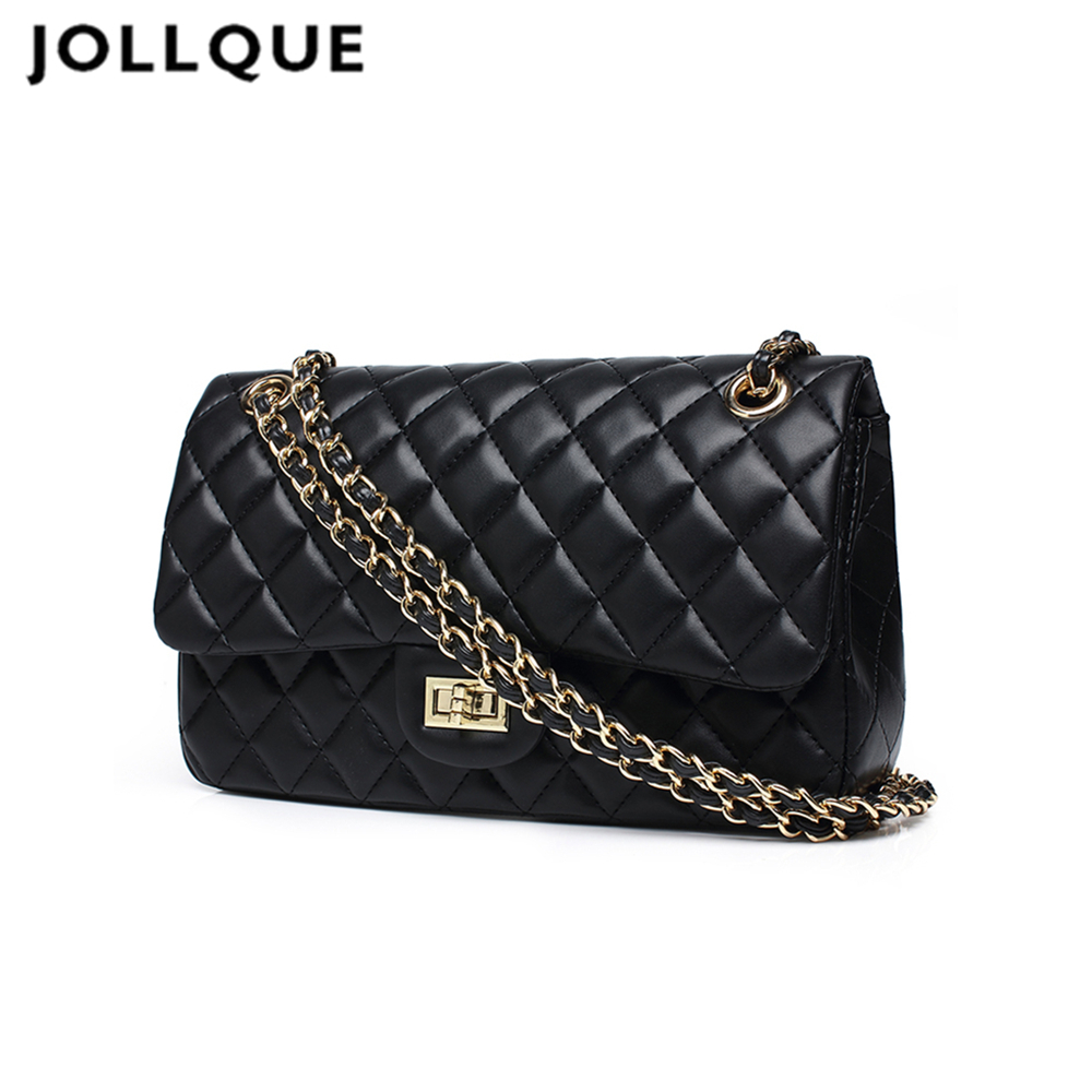 Jollque black women shoulder bags female party crossbody chain bag plaid handbag quilted sac a main femme women leather handbags fashion women messenger bags for women waterproof nylon handbag female shoulder bag ladies crossbody bags bolsa sac a main femme