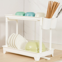 Kitchen double layer chopsticks dish rack drain rack plastic storage box shelf cabinet drip rack wx9261158