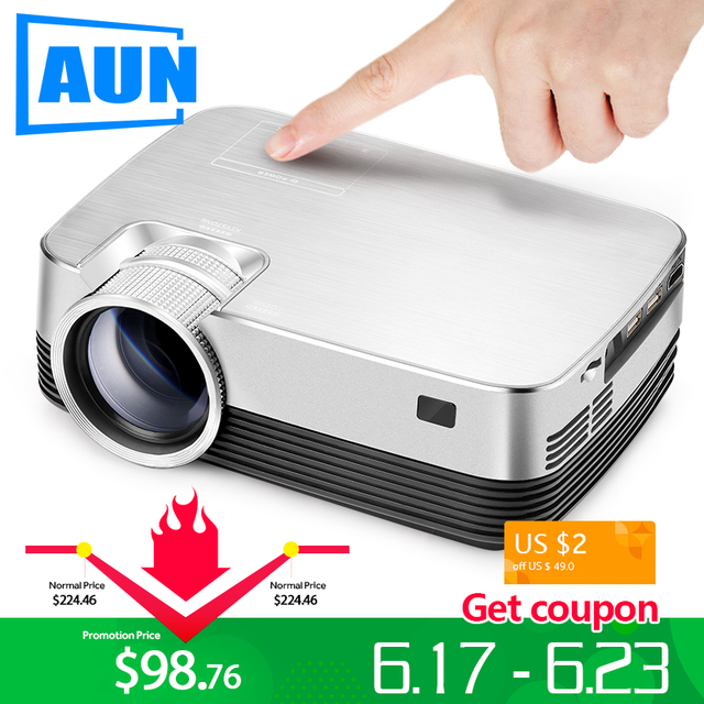 AUN Android Projector Q6. Set in WIFI, Bluetooth. 1280x720 Pixel, HD Mini Projector, Video Beamer. Support 1080P, USB, HD output
