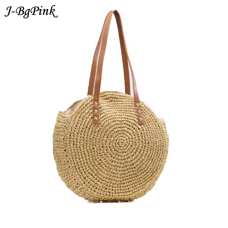 2018 Bali Island Straw Bag Hand Woven Bag Round Women Bohemia Beach Circle Bag High capacity Shoulder Knitting bag Phone Pocket