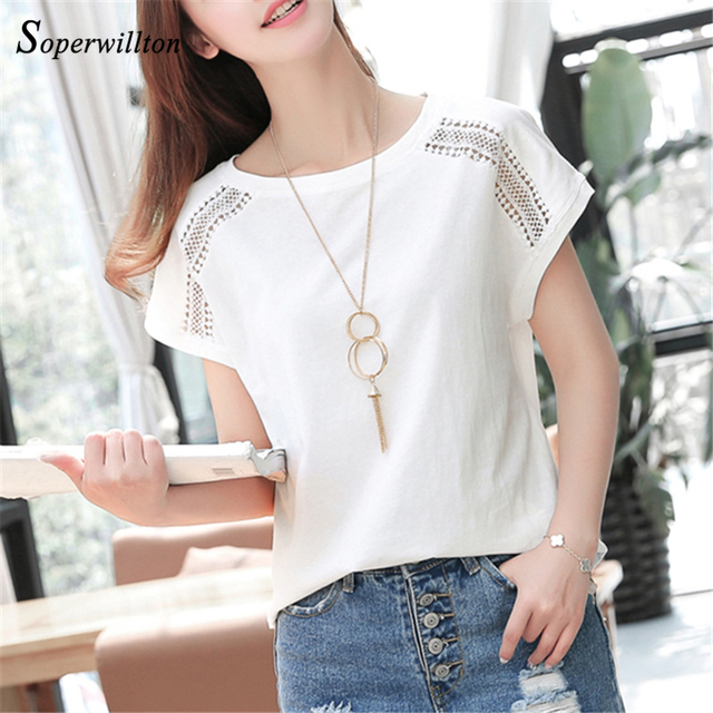 Cotton Summer Blouses Lace Batwing Sleeve Shirts For Womens Tops Shirts Plus Size Women Clothing Korean 2018 Blusas Female #B65 1