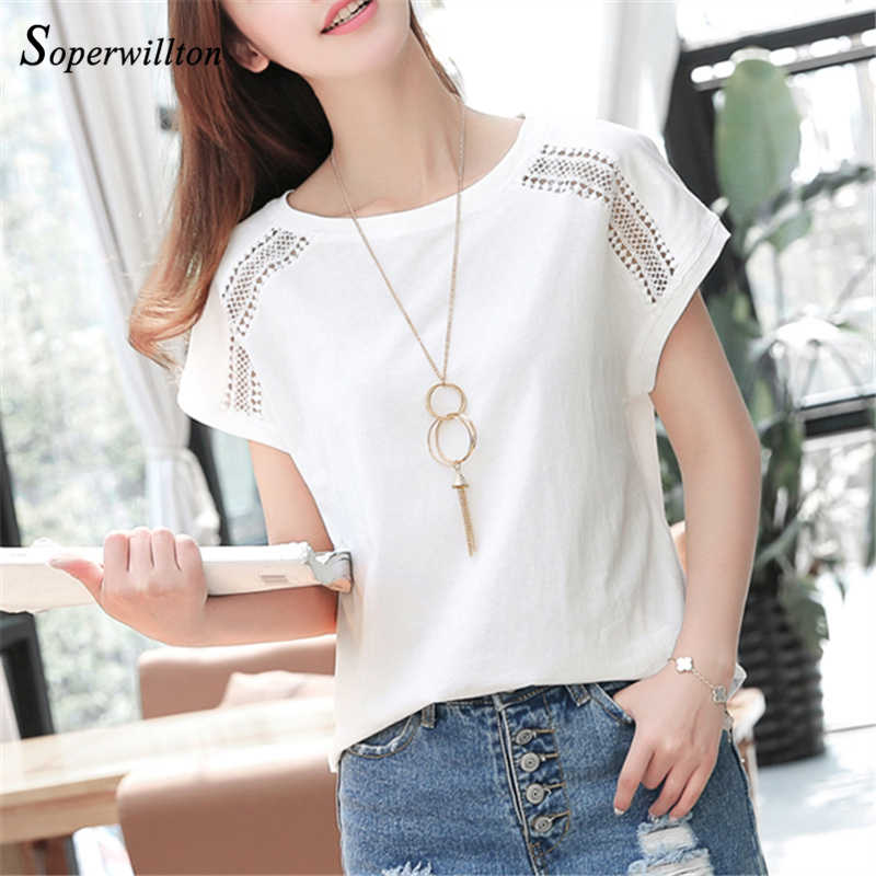 Cotton Summer Blouses Lace Batwing Sleeve Shirts For Womens Tops Shirts Plus Size Women Clothing Korean 2019 Blusas Female #B65