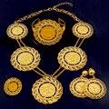 Dubai Abaya de moda Italiana Monedas de Oro Chapado En Oro a Largo Juegos de Joyería Crystal Mujeres Boda Africana Costume Necklace Earrings set