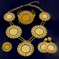 Fashion Italian Dubai Abaya Gold Coins Gold Plated Long Jewelry Sets Crystal Women African Wedding Costume Necklace Earrings set
