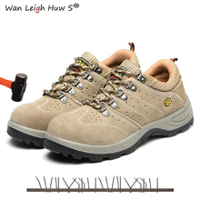 цены 2019 Steel Toe Cap Shoe Men Spring Leather Breathable Labor Insurance Puncture Proof Casual Boots Mens Safety Work Shoes
