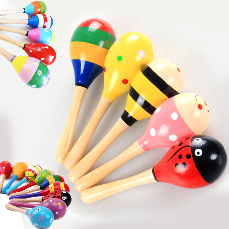2019 Colorful Wooden Maracas Baby Child Musical Instrument Rattle Shaker Party Baby Kids Gift Toy Toys For Children