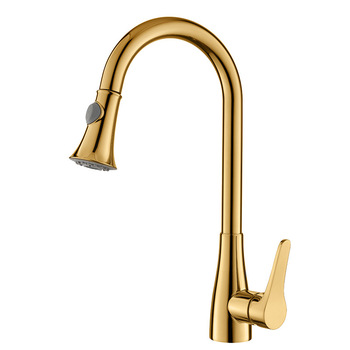 Gold Pull Out Kitchen Faucet Deck Mounted Single Handle Cold And Cold Water Mixer Faucet Kitchen Sink Brass Mixer Tap