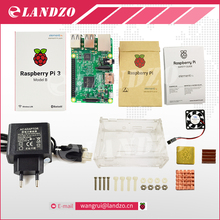 D Raspberry Pi 3 Model B başlangıç kiti-pi 3 kurulu/pi 3 kılıf/AB güç fişi/logo ile Soğutucular pi3 b/pi 3b ile wifi & bluetooth