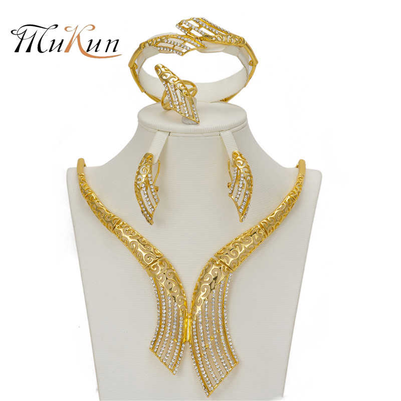 MUKUN High Quality Ethiopian woman Gold Color Jewelry Set African Beads Imitated crystal Bridal accessory Necklace jewelry Suit