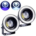2pcs Waterproof Projector LED Fog Light With Lens Halo Angel Eyes Rings COB 30W Xenon White Blue 12V SUV ATV Off Road Fog Lamp