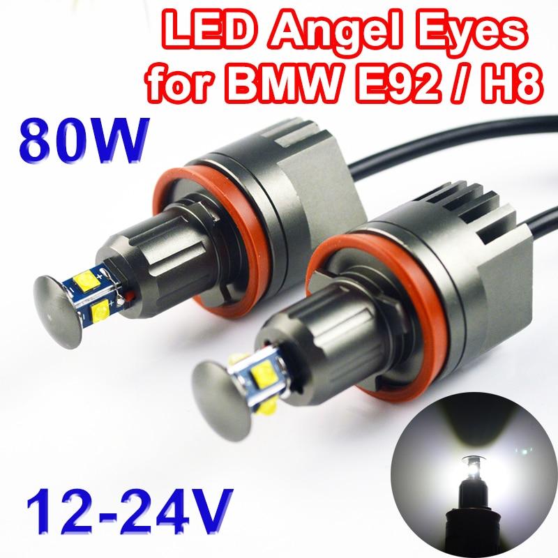 1 Set(2 PCS) 2*40W 80W H8 Angel Eyes LED Marker CREE LED Chips XTE 1400LM White 7000K for BMW E90 E92 X5 E71 X6 E82 M3 E60 E70 2 pieces 1 set 2 10w 20w led marker angel eyes for cree led chips xenon white for bmw e90 e91