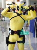 Black&Yellow Cute Pokemon Pikachu Deadpool Cosplay Costume Lycra Male Strong Pokemon Halloween Costume Carnival Only Bodysuit