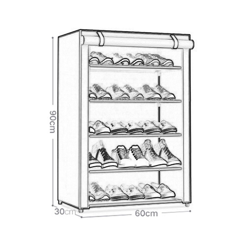 5 layer 6 grid Shoe Cabinet Shoes Rack Prevent Dust Moisture Storage Large Capacity Home Furniture folding DIY Simple shoe rack in Shoe Racks Organizers from Home Garden
