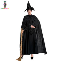 Plus Size Classic Black Halloween Sexy Bewitched Witch Woman Costumes Darling Spellcaster Costume Female Gothic Dresses