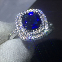 Women Fashion cushion cut 3ct Blue 5A zircon crystal 925 Sterling silver Engagement wedding band ring for women Bijoux