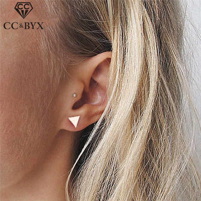 CC 100% S925 Sterling Silver Earrings For Women OL Style Simple Design Triangle Shape Fashion Jewelry Bijoux Femme CCE515