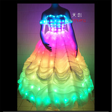 TC-56 Full color LED colorful light women costumes party skirt ballroom dance Snow White wedding dress cloth programming design