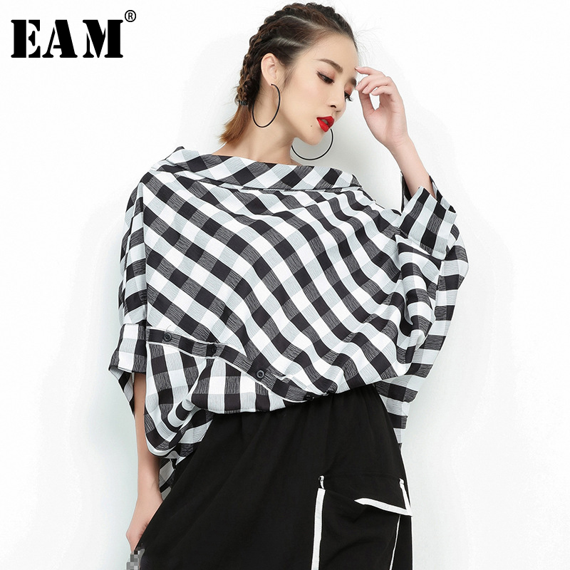 [EAM] 2019 New Spring Summer  Slash Neck Three-quarter Sleeve Plaid Split Joint Loose Big Size Shirt Women Bouse Fashion  JF938