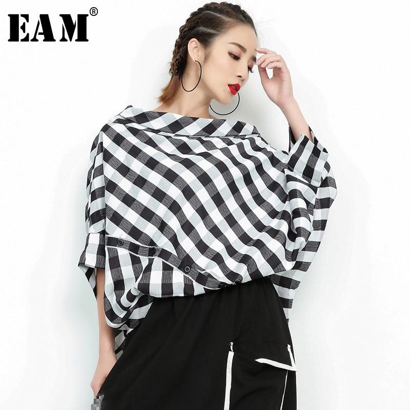 [EAM] 2020 New Spring Summer  Slash Neck Three-quarter Sleeve Plaid Split Joint Loose Big Size Shirt Women Bouse Fashion  JF938