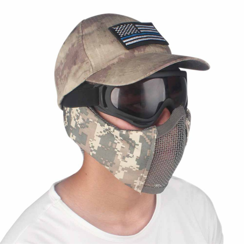 USA Shipping Tactical Half Face Metal Steel Net Mesh Mask Hunting Protective Guard Mask Airsoft Ear protection half-face mesh H5