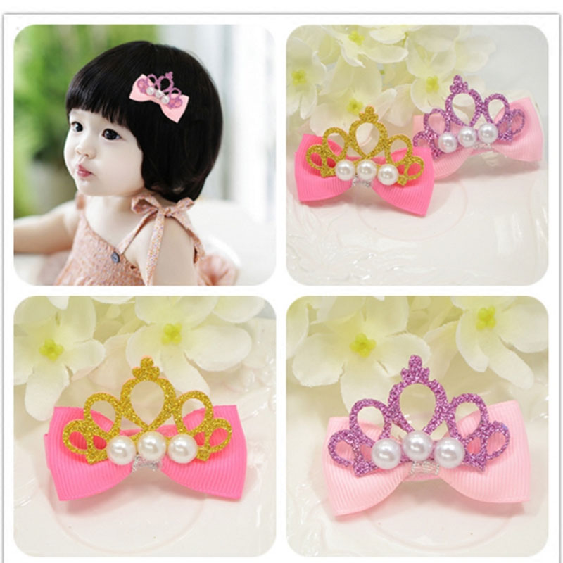 M MISM Girl Pearl Crown Shiny Hairpins Princess Bow-Knot Hairgrips Kids Accessories Lovely Hair Clip New Big Size Headwear m mism girl cute hairball hairpins lovely colorful hairgrips kids accessories new arrival hair clips headwear best gift to kids