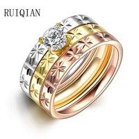 3ชิ้นชุดแหวนแฟชั่นหรูหราแหวนไทเทเนียมสำหรับผู้หญิงไวด์วงแต่งงาน