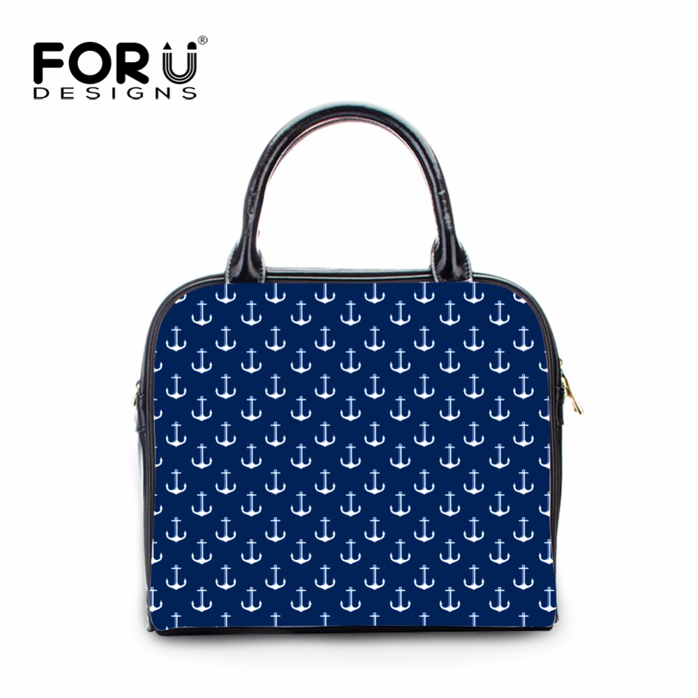 FORUDESIGNS luxury women designer handbags high quality brand Leather pu handle anchor stripe women messenger bag bolsa feminina masculine side bang ultrashort women s human hair wig
