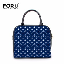 FORUDESIGNS luxury women designer handbags high quality brand Leather pu handle anchor stripe women messenger bag bolsa feminina