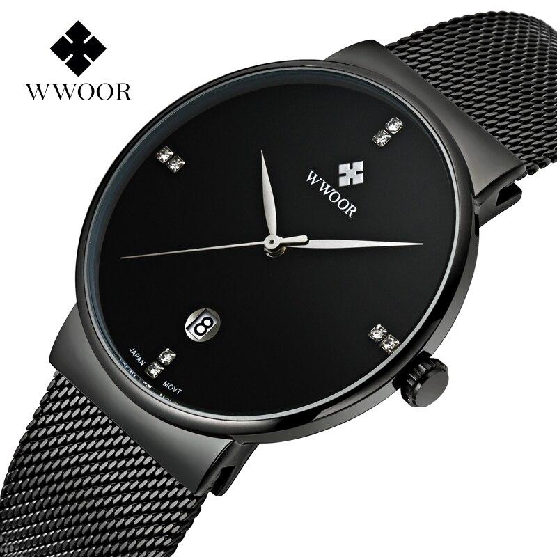 ФОТО montre homme WWOOR luxury Brand men's watch Stainless steel fashion Wrist watches men Rhinestones Quartz Watch date Male clock