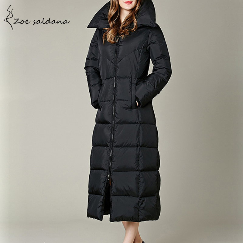 Zoe Saldana 2019 X-Long   Down   Jacket Winter Stand Collar Duck   Down     Coat   Women Slim Warm Parkas Black Thick Outwear
