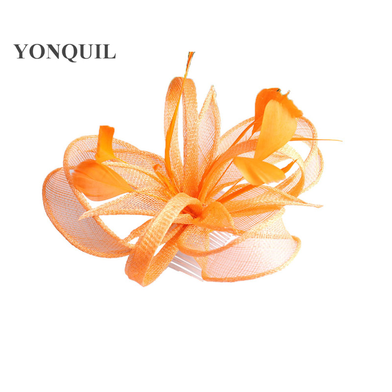 Желтая Свадебная расческа для волос sinamay, аксессуары для волос, Популярные головные уборы для женщин, вечерние головные уборы - Цвет: Оранжевый